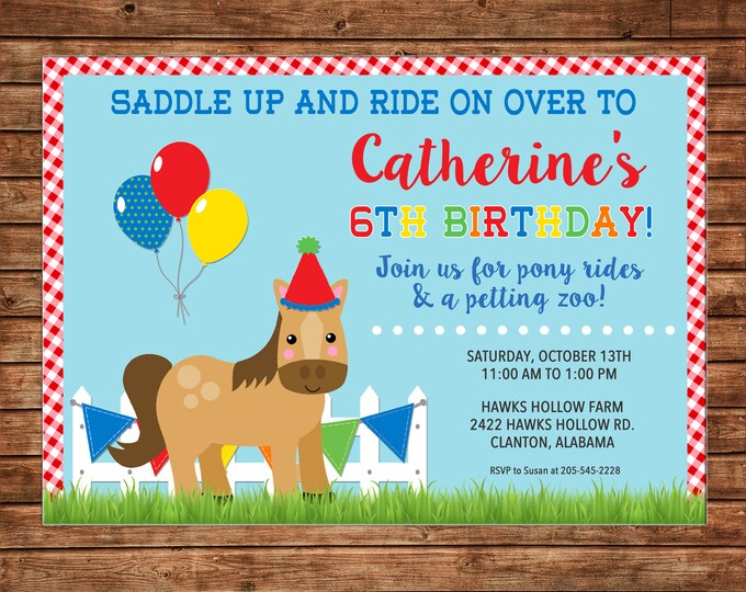 Boy or Girl Invitation Pony Horse Riding Farm Petting Zoo Birthday Party - Can personalize colors /wording - Printable File or Printed Cards