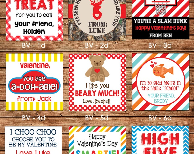 24 Printed Boy Valentine Square Gift Tags Enclosure Cards Stickers - Can personalize - Choose ONE design