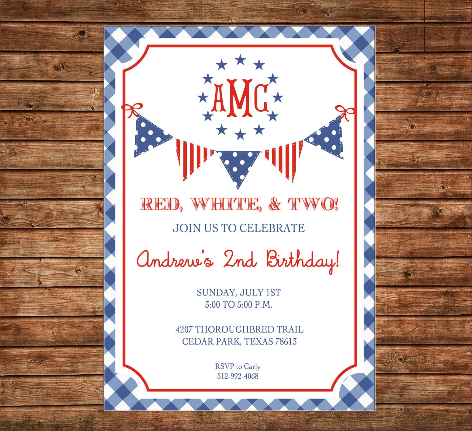 photo relating to Free Printable Patriotic Invitations called Invitation Crimson White 2 Gingham Patriotic Monogram