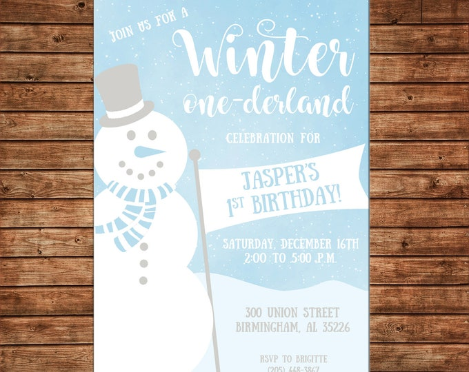 Boy or Girl Invitation Winter Wonderland Snowman Birthday Party - Can personalize colors /wording - Printable File or Printed Cards