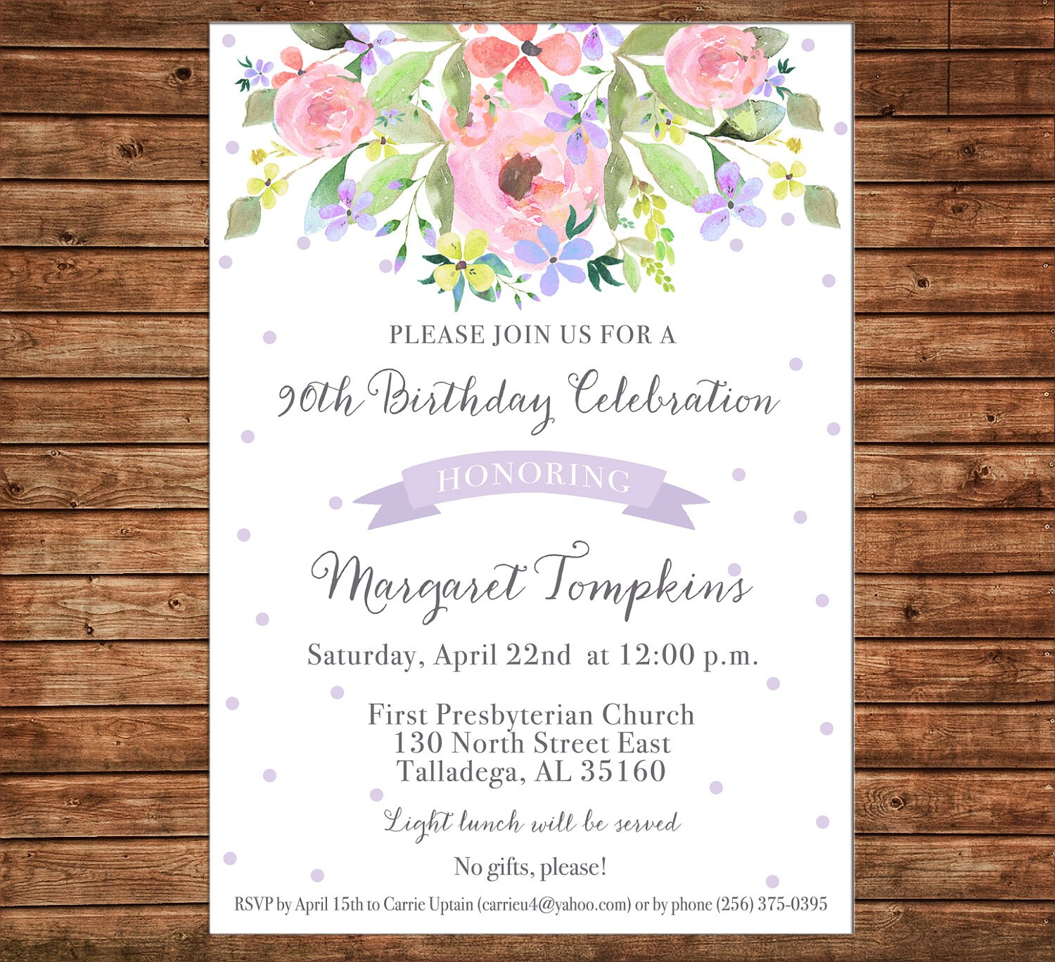 Girl Invitation Watercolor Floral Flowers Shower Birthday Party