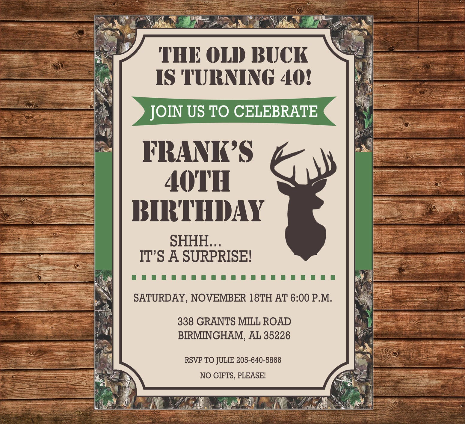 Boy Invitation Old Buck Deer Camo Outdoors Birthday Party Can Personalize Colors Wording Printable File Or Printed Cards