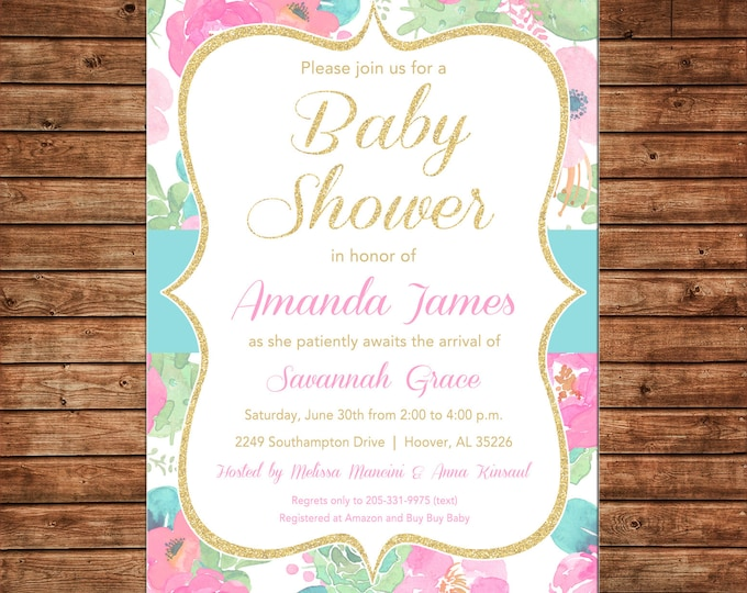 Girl Invitation Watercolor Flowers Gold Bridal Baby Shower Party - Can personalize colors /wording - Printable File or Printed Cards