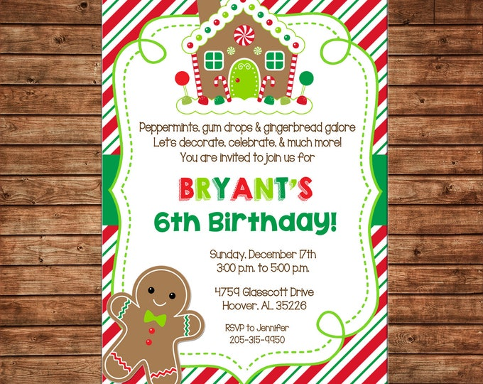 Christmas Cookie Gingerbread House Decorating Birthday Party  - Can personalize colors /wording - Printable File or Printed Cards