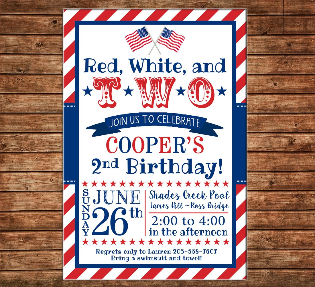 picture about Free Printable Patriotic Invitations referred to as Boy or Female Invitation Purple White 2 Patriotic Birthday Bash