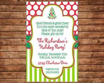 Christmas Holiday Invitation Open House Party - Can personalize colors /wording - Printable File or Printed Cards