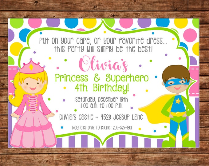 Girl Princess Superhero Super Hero Birthday Party - Can personalize colors /wording - Printable File or Printed Cards