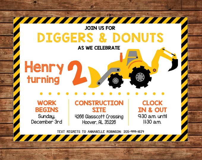 Boy Diggers Donuts Dump Truck Construction Birthday Party - Can personalize colors /wording - Printable File or Printed Cards