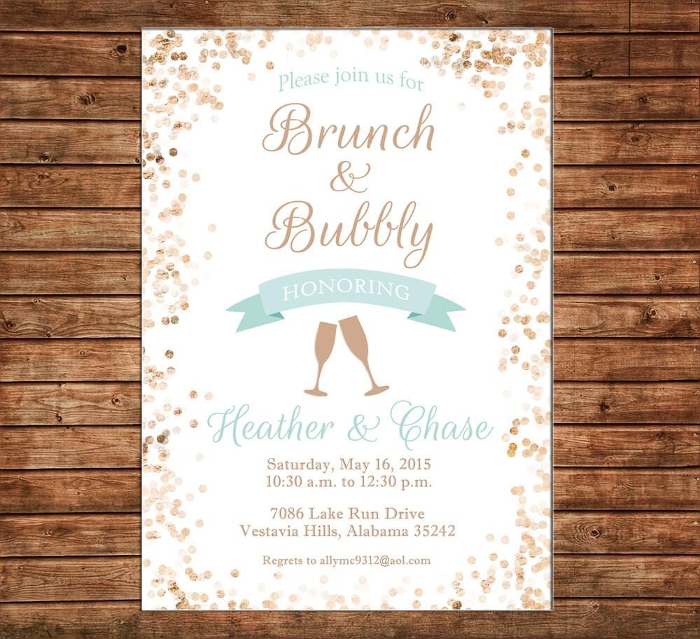 Invitation Brunch Bubbly Wedding Bridal Shower Glitter