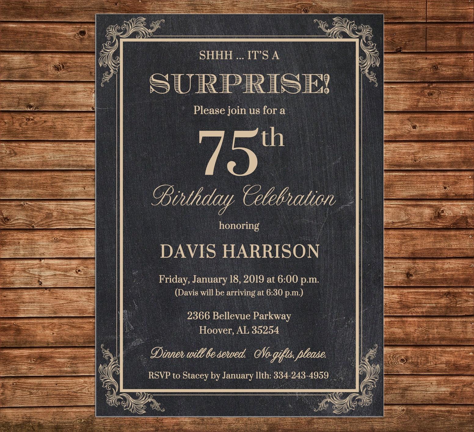 Invitation Chalkboard Chalk Masculine Surprise Birthday Party