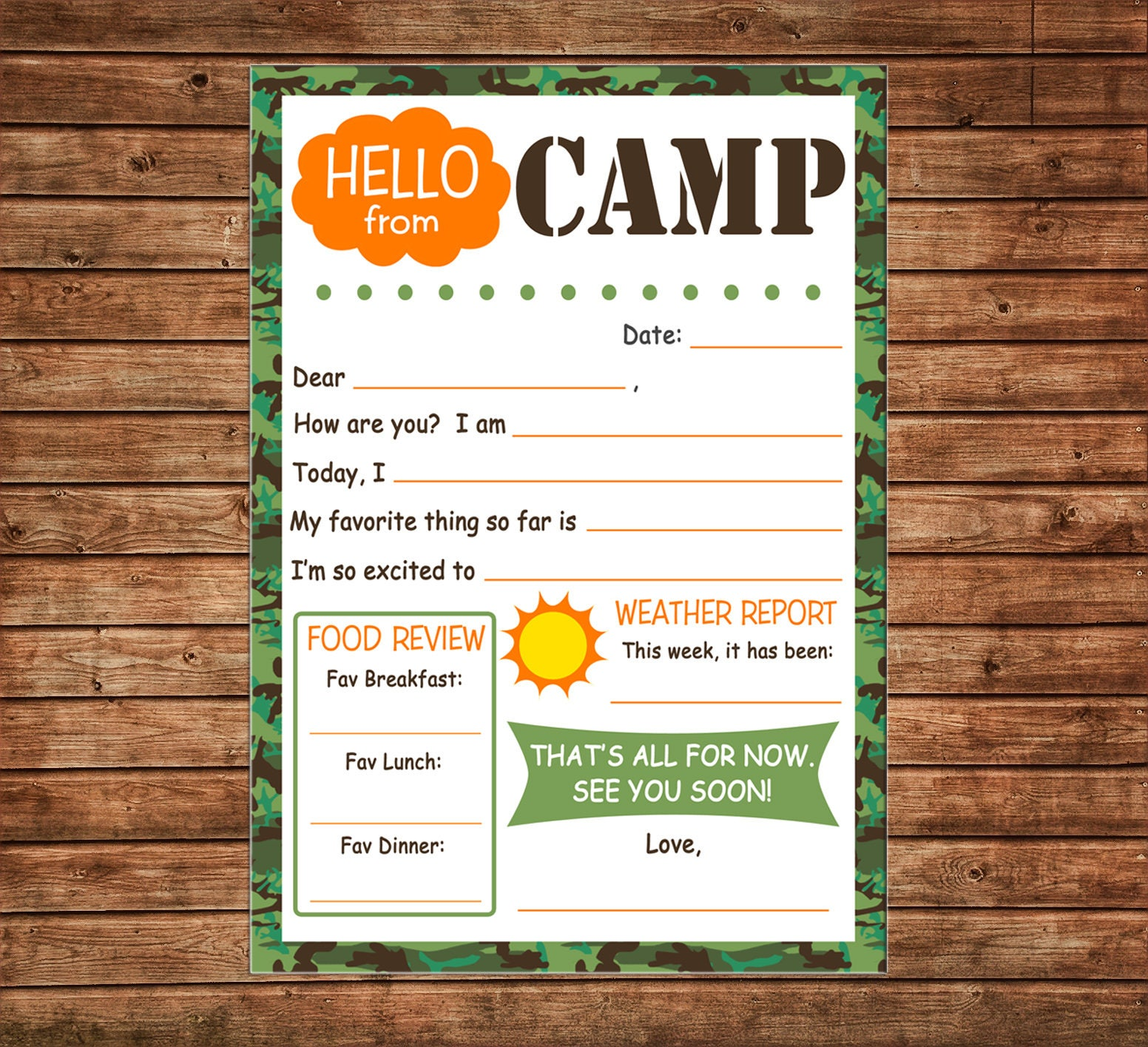 picture relating to Printable Fill in the Blank Camp Letters called Boy Camp Notecards Observe Fill in just the blank Good day Letter Camo