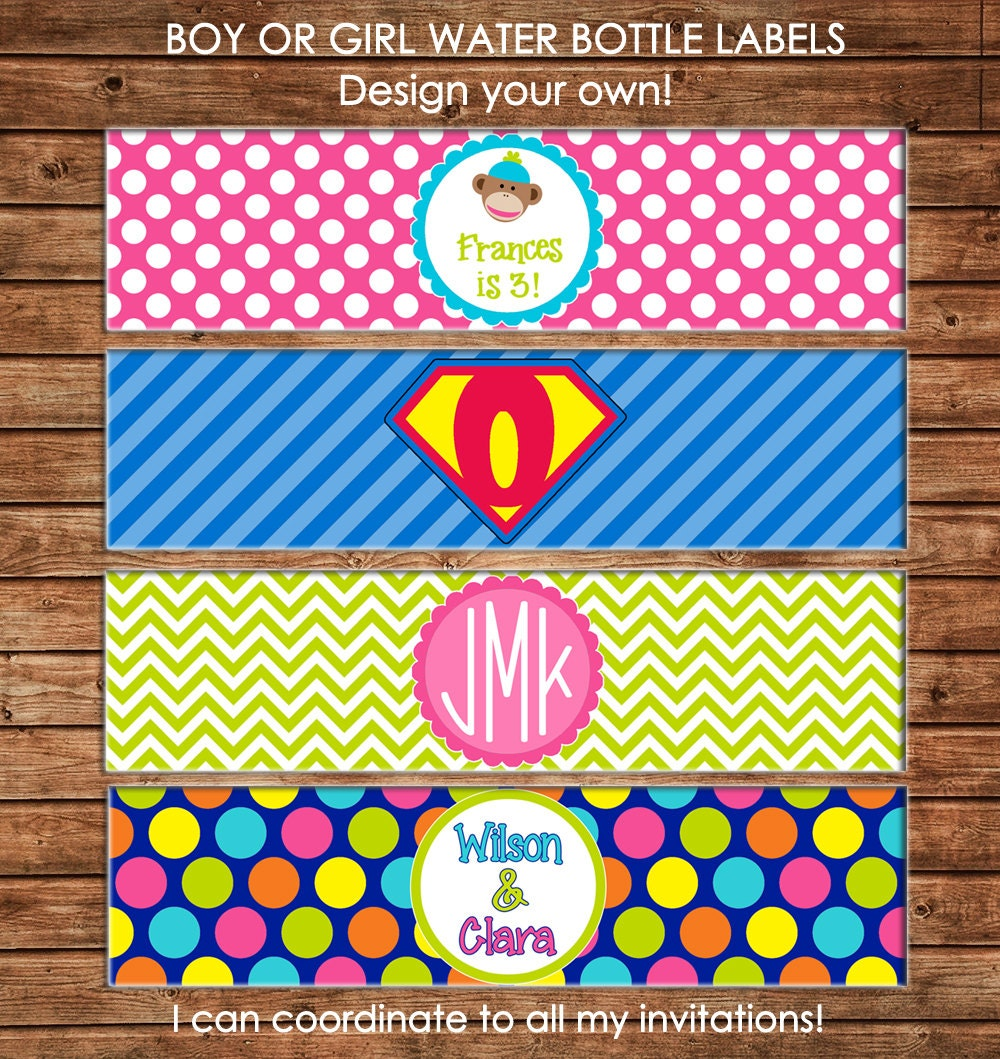 15 Water Bottle Labels Printed on Heavy Cardstock - Made to
