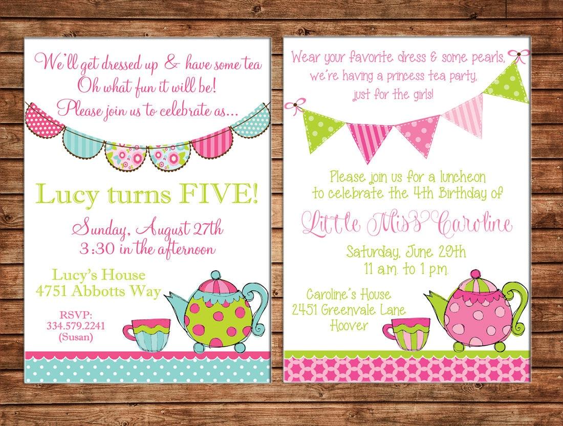 Girl Invitation High Tea Bunting Birthday Party Can