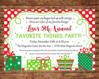 Christmas Invitation Favorite Things Dirty Santa Gift Exchange Party - Can personalize colors /wording - Printable File or Printed Cards