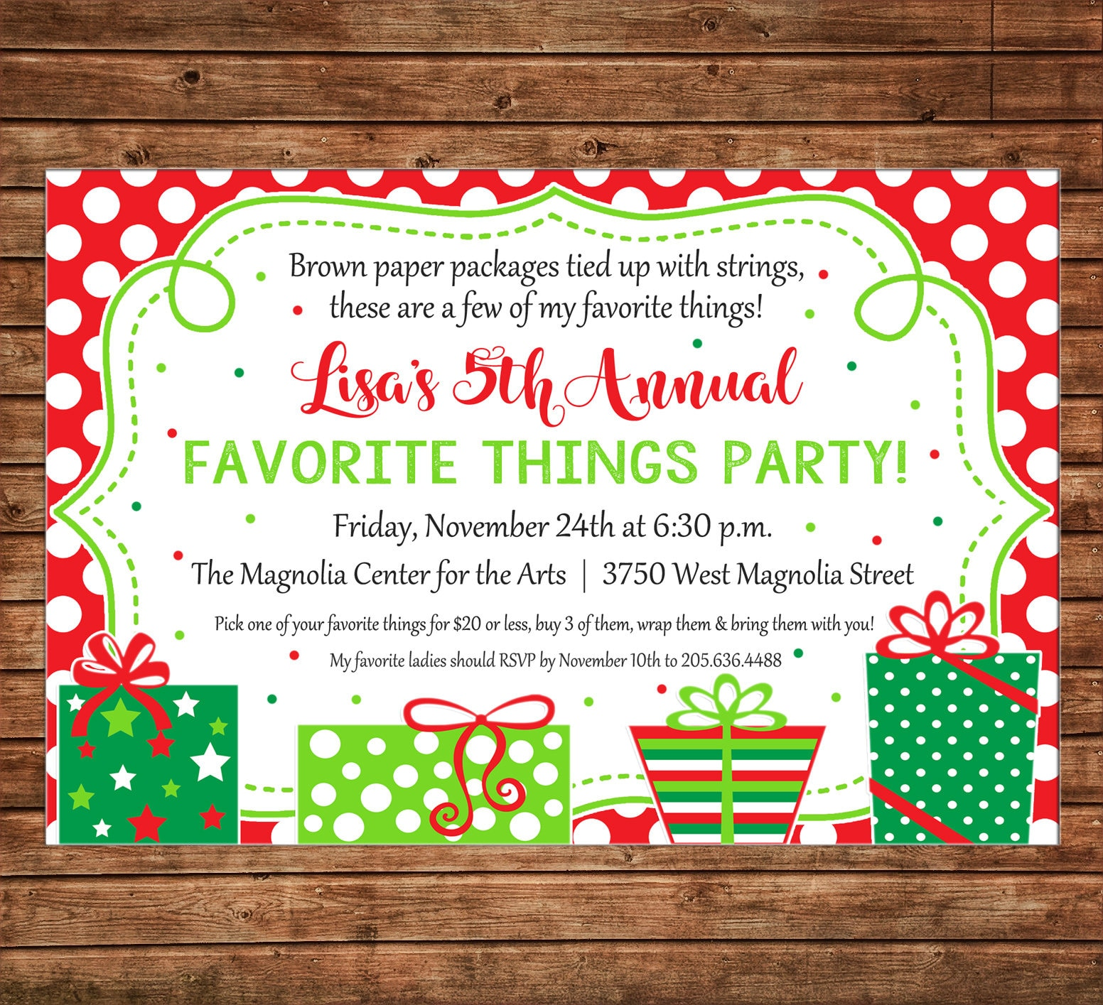 Christmas Invitation Favorite Things Dirty Santa Gift Exchange Party
