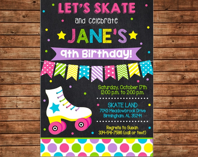 Girl Invitation Roller Skating Rollerskating Bunting Birthday Party - Can personalize colors /wording - Printable File or Printed Cards
