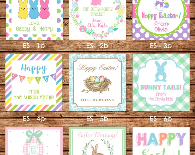 24 Printed Easter Spring Square Gift Tags Enclosure Cards Stickers - Can personalize - Choose ONE design