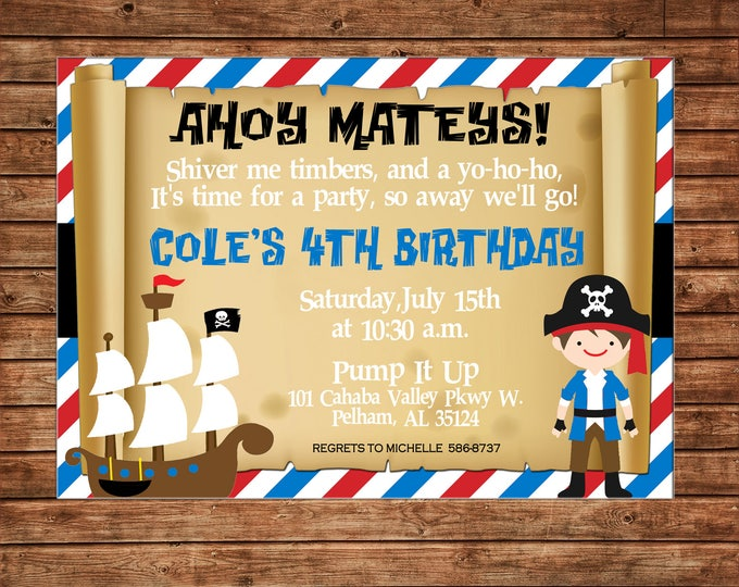 Boy Invitation Pirate Map Ship Birthday Party - Can personalize colors /wording - Printable File or Printed Cards