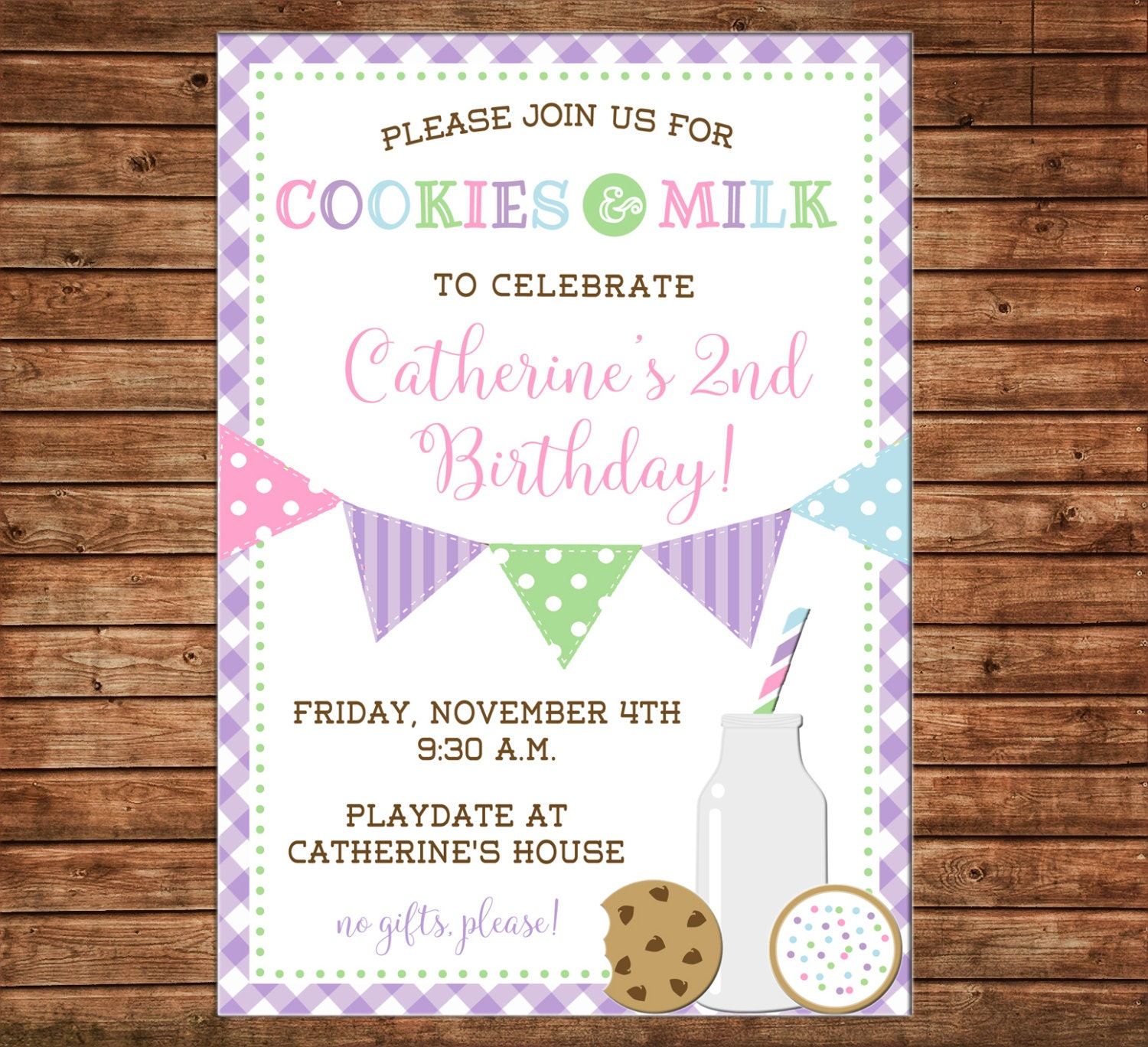 Boy Or Girl Invitation Cookies And Milk Playdate Birthday Party Can