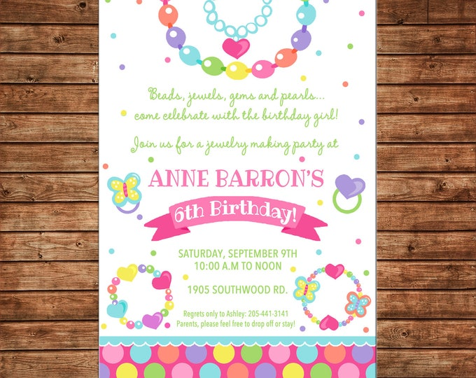 Girl Invitation Jewelry Making Dress Up Birthday Party - Can personalize colors /wording - Printable File or Printed Cards