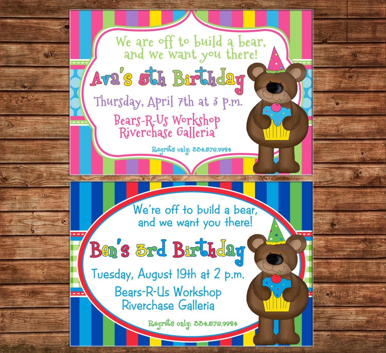 Boy or girl invitation bear teddy birthday party can personalize boy or girl invitation bear teddy birthday party can personalize colors wording printable file or printed cards stopboris Gallery