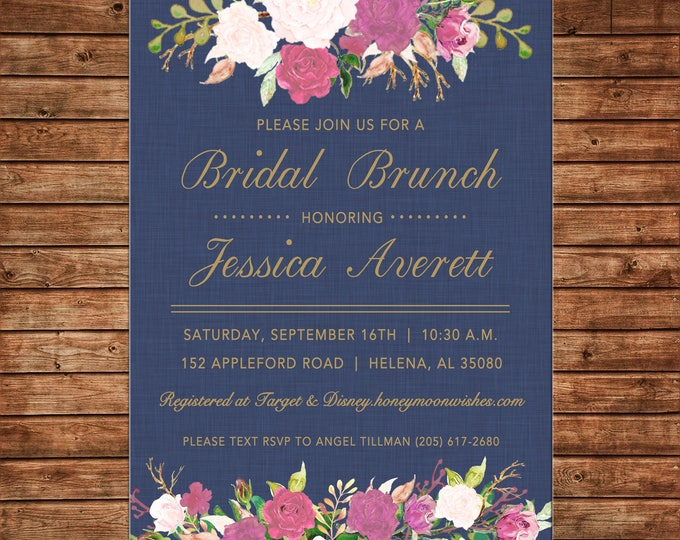 Invitation Watercolor Floral Flowers Bridal Wedding Shower - Can personalize colors /wording - Printable File or Printed Cards