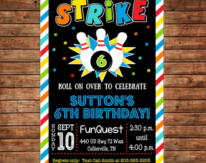 Boy or Girl Invitation Bowling Alley Rainbow Stripe Birthday Party - Can personalize colors /wording - Printable File or Printed Cards