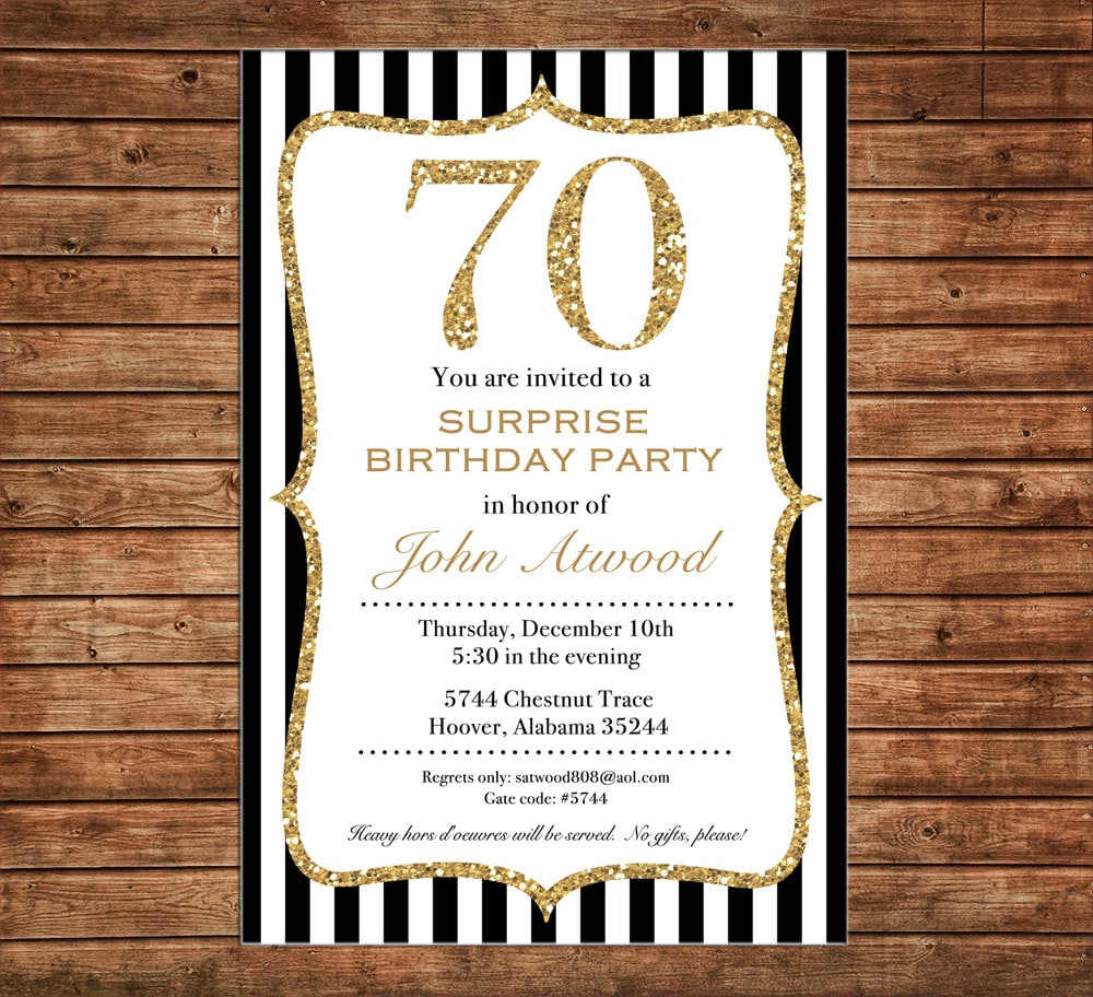 Invitation Black Gold Glitter Milestone Wedding Shower