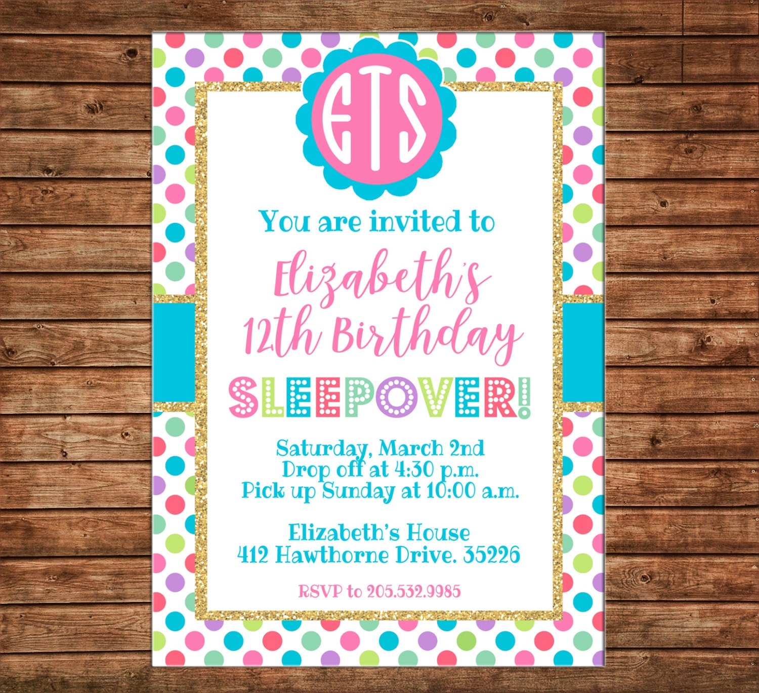 Girl Invitation Glitter Gold Polka Dot Tween Teen Birthday Party