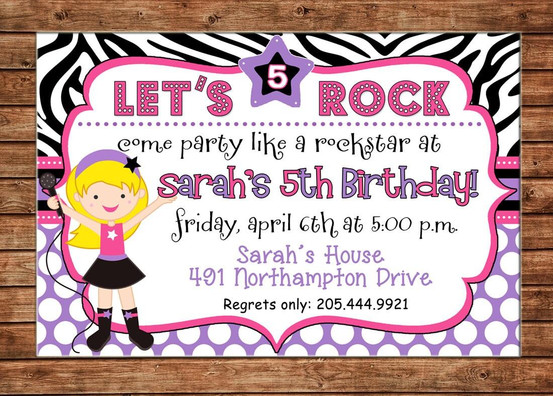 Girl Invitation Rockstar Popstar Pop Star Birthday Party - Can ...