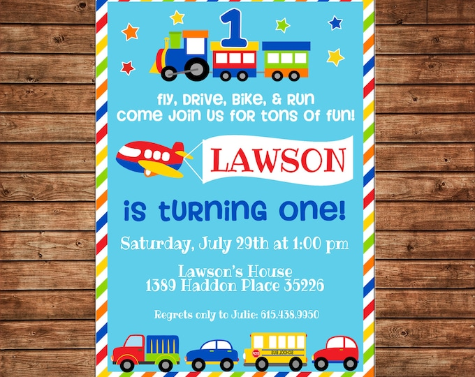 Boy or Girl Invitation Transportation Car Bus Plane Train Birthday Party - Can personalize colors /wording - Printable File or Printed Cards