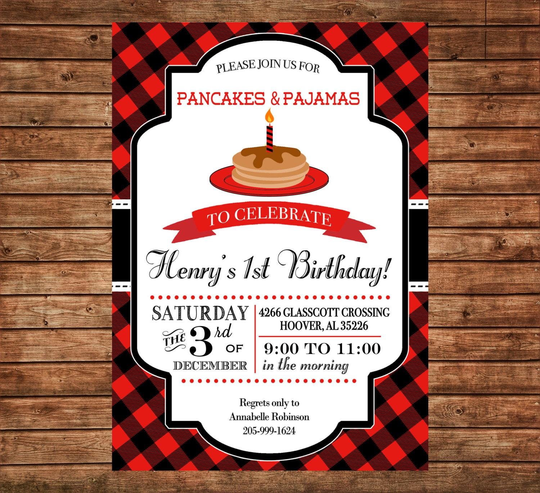 7ac38f41bdb3 Boy Invitation Red Black Plaid Lumberjack Pancakes Birthday Party ...