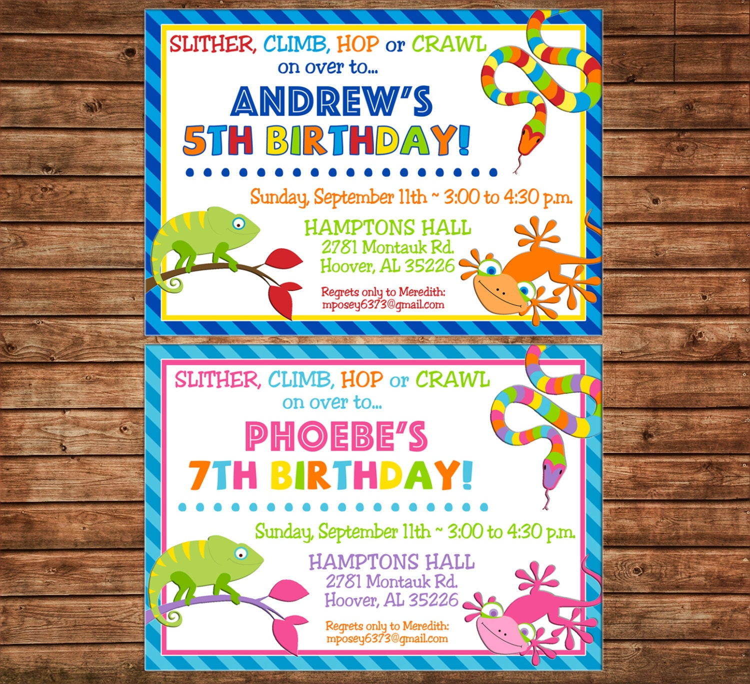 Boy Or Girl Invitation Reptile Snake Lizard Birthday Party