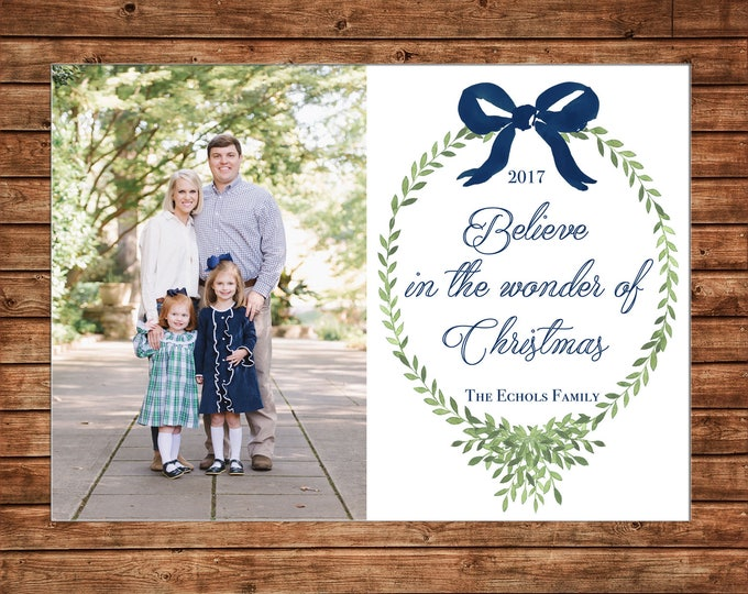 Christmas Holiday Photo Card Watercolor Wreath Bow Navy Elegant - Can Personalize - Printable File or Printed Cards