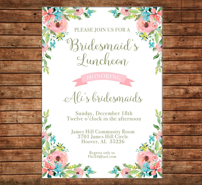 Baby Shower. Bridal Shower Floral Birthday Invitation Bridesmaids/' Luncheon