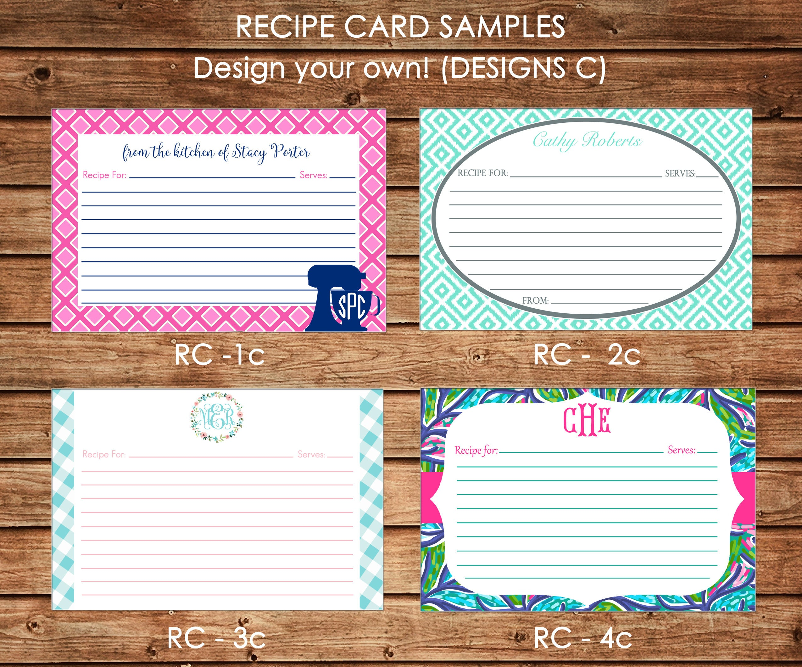 personalized recipe cards design your own choose one design