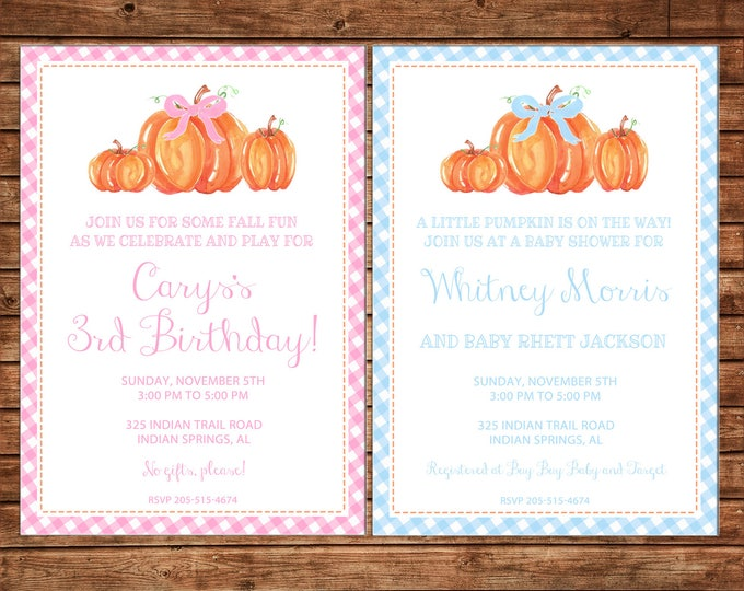 Boy or Girl Invitation Watercolor Pumpkin Baby Shower Birthday Party - Can personalize colors /wording - Printable File or Printed Cards