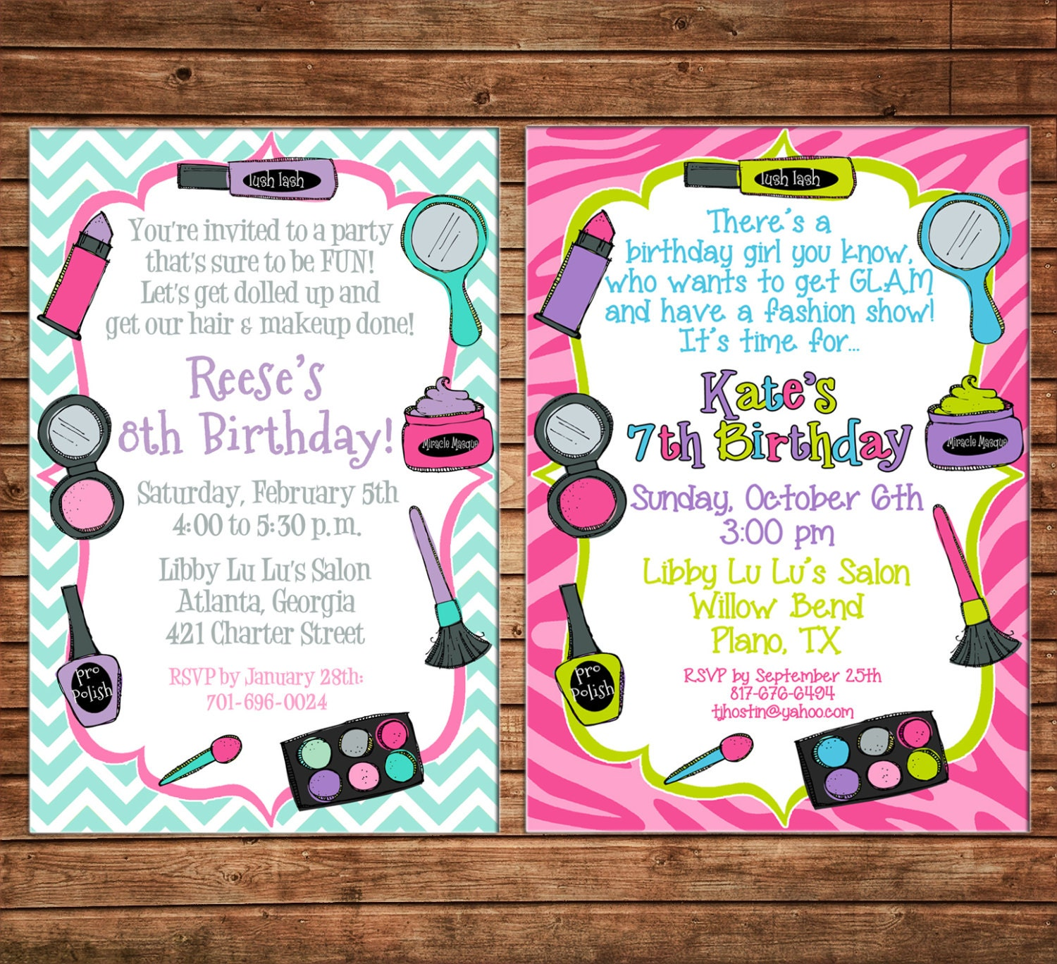 Girl Invitation Makeover Makeup Fashion Show Dress Up Birthday Party ...