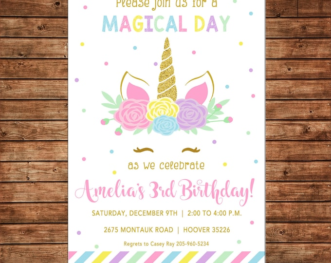 Girl Invitation Unicorn Head Face Horn Glitter Floral Birthday Party - Can personalize colors /wording - Printable File or Printed Cards