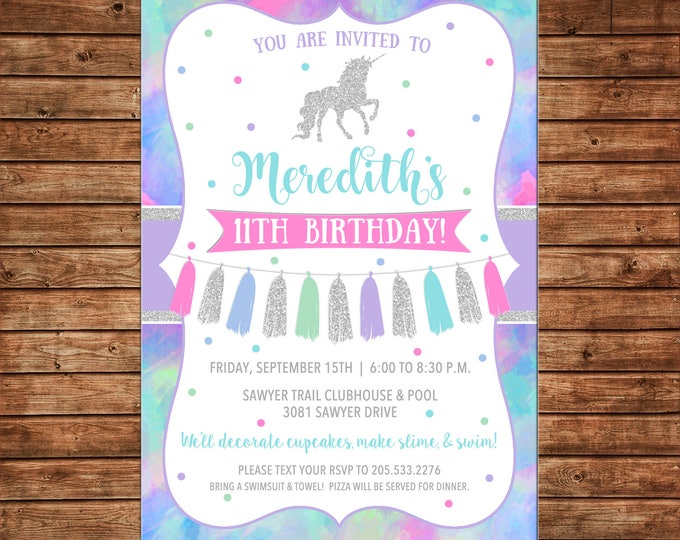 Girl Invitation Glitter Unicorn Tassel Watercolor Birthday Party - Can personalize colors /wording - Printable File or Printed Cards