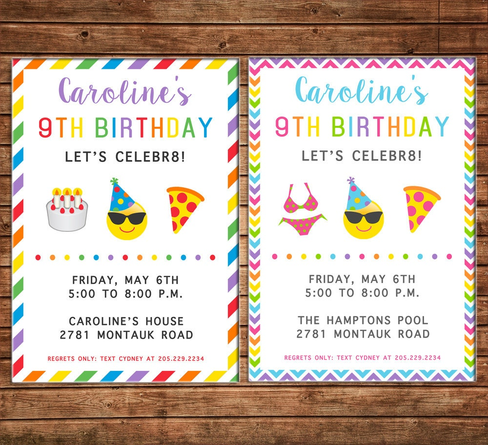 Boy or Girl Invitation Tween Teen Birthday Party - Can personalize ...