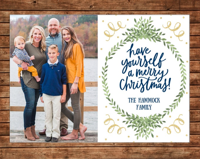 Christmas Holiday Photo Card Watercolor Wreath Greenery Gold Glitter  - Can Personalize - Printable File or Printed Cards
