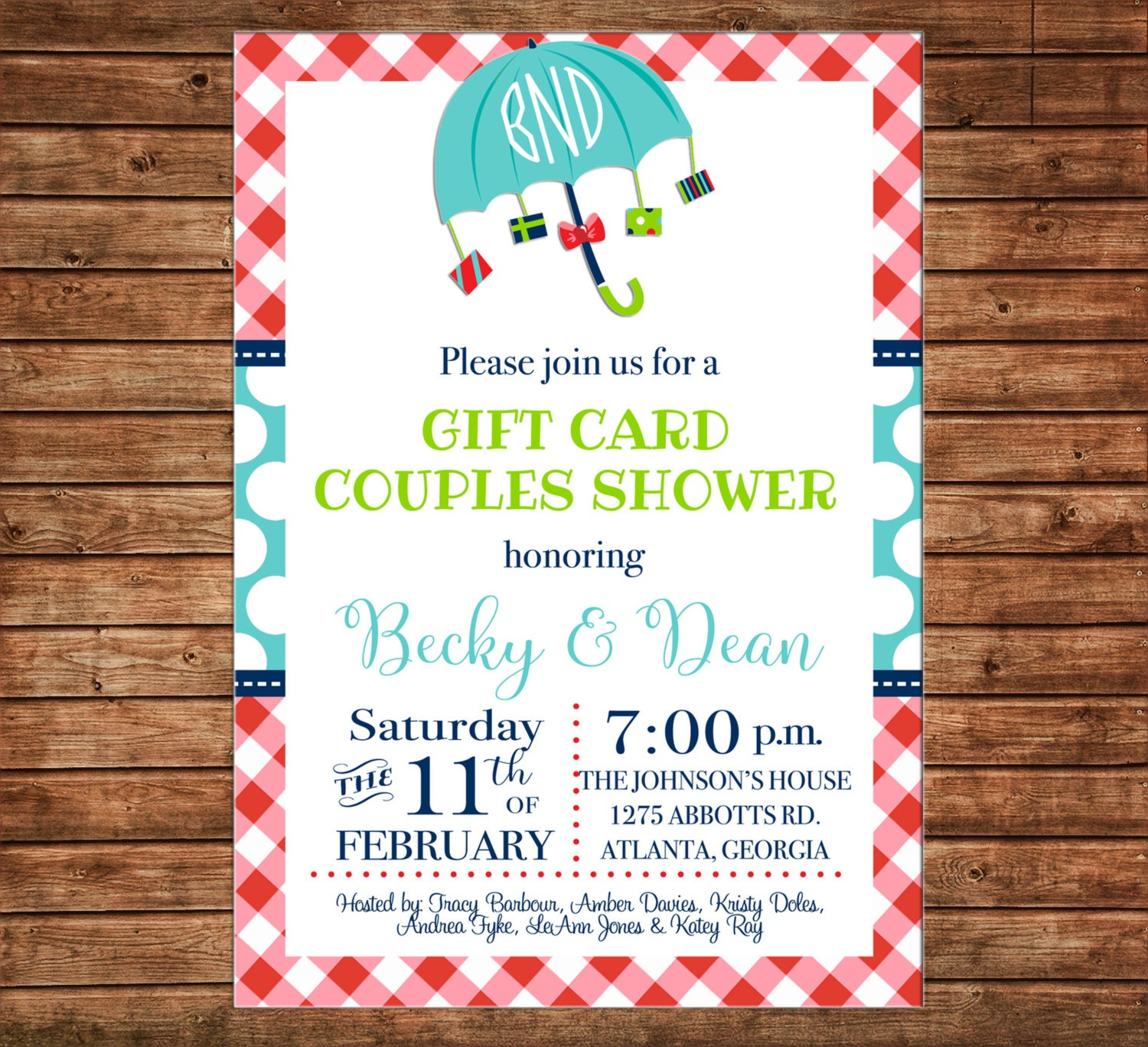 Invitation Gift Card Shower Baby Bridal Wedding Birthday Party
