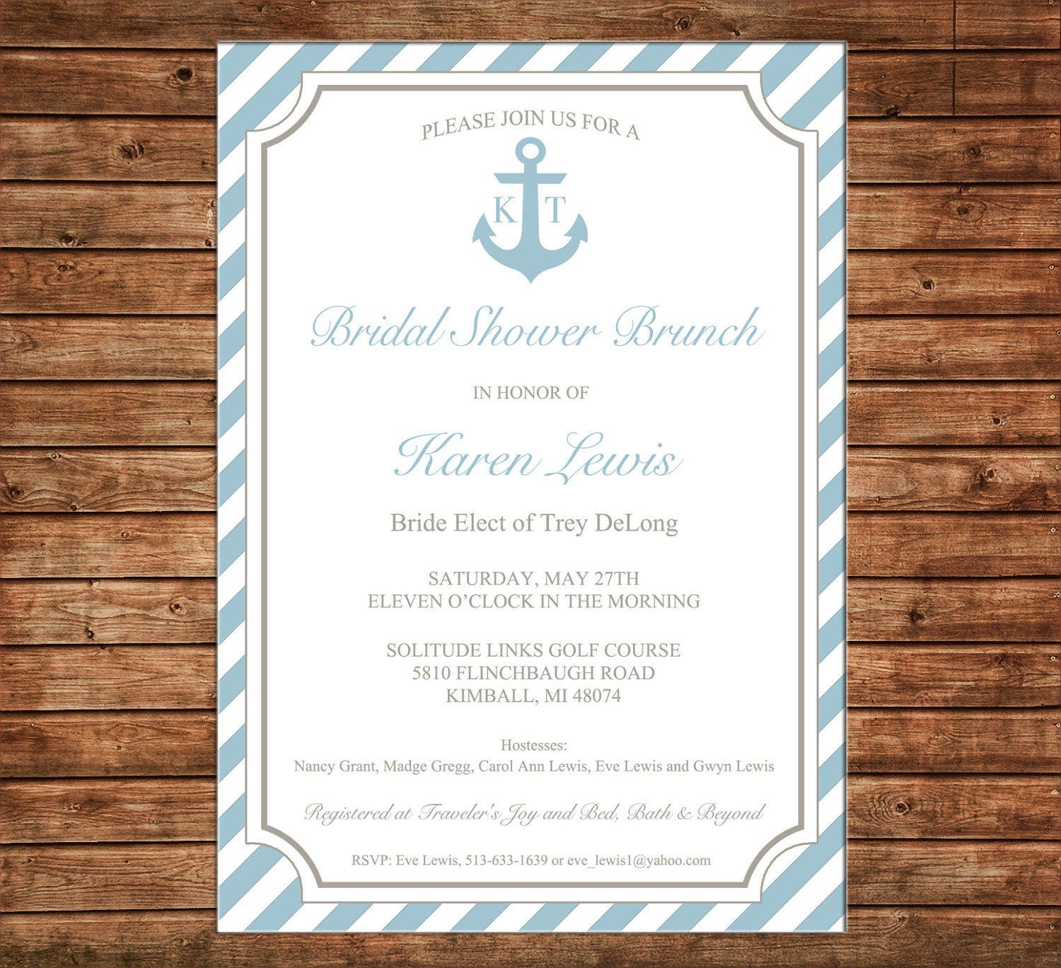Wedding Baby Shower Invitation Anchor Nautical Party - Can ...