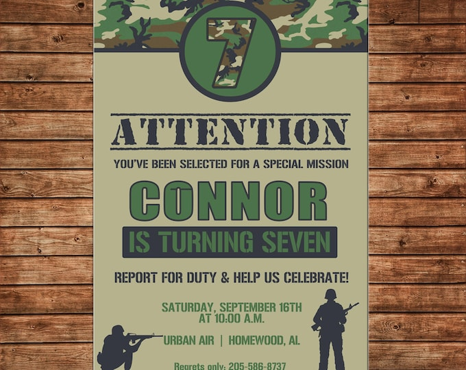 Boy Invitation Camo Camouflage Army Birthday Party - Can personalize colors /wording - Printable File or Printed Cards