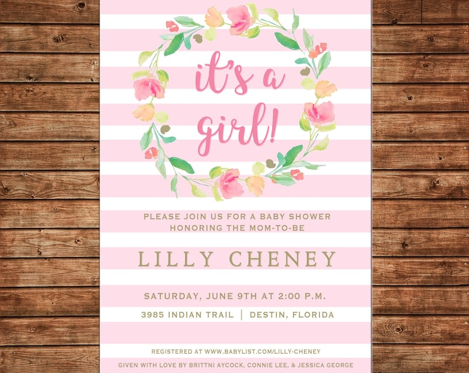 Invitation Pink Stripe Watercolor Floral Wreath Shower Birthday Party - Can personalize colors /wording - Printable File or Printed Cards