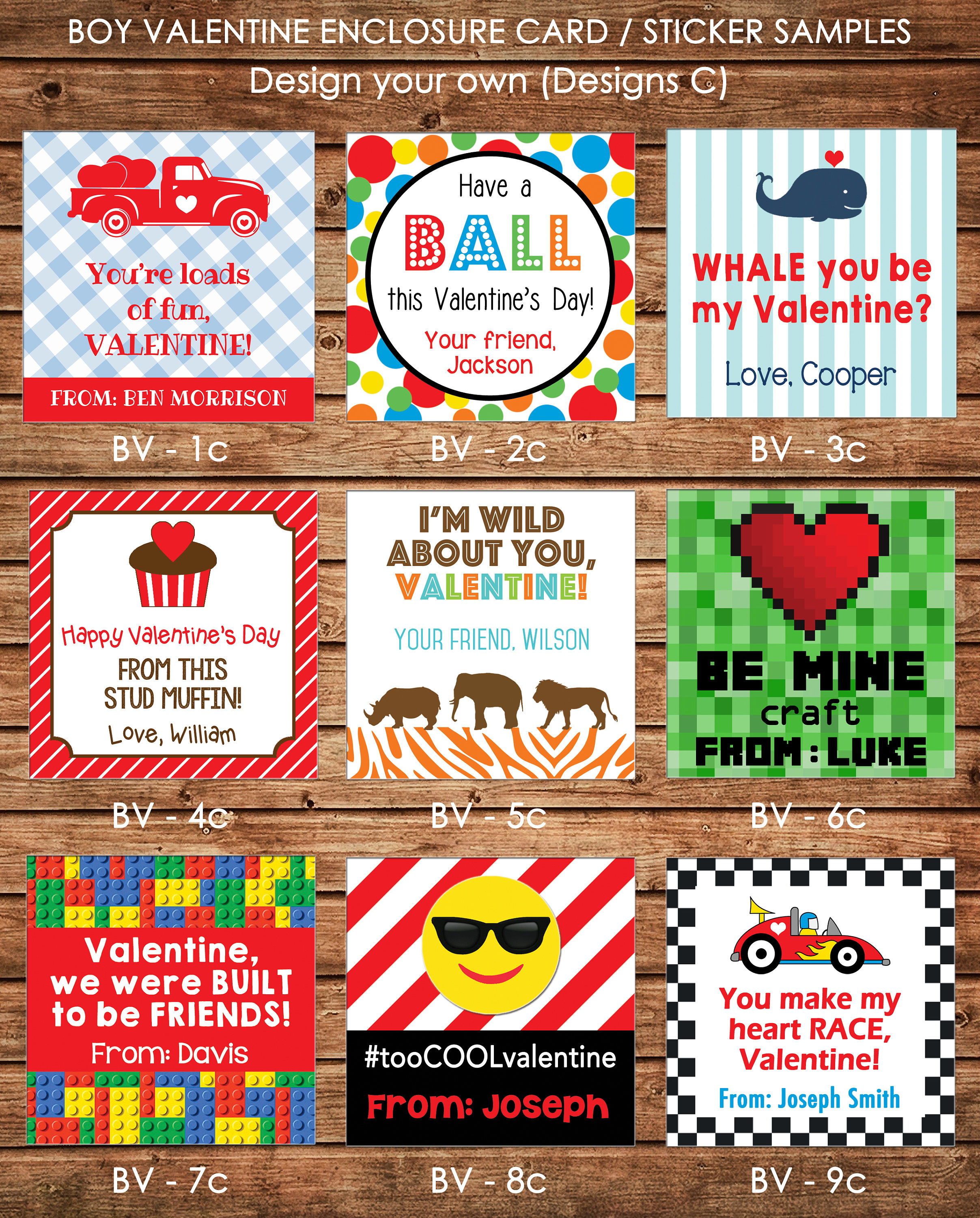 24 square personalized boy valentine enclosure cards gift stickers