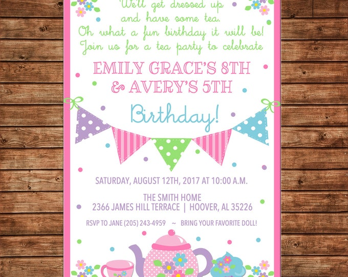 Girl Invitation Tea Birthday Party - Can personalize colors /wording - Printable File or Printed Cards
