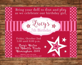 Girl Invitation Bistro Doll Birthday Party - Can personalize colors /wording - Printable File or Printed Cards