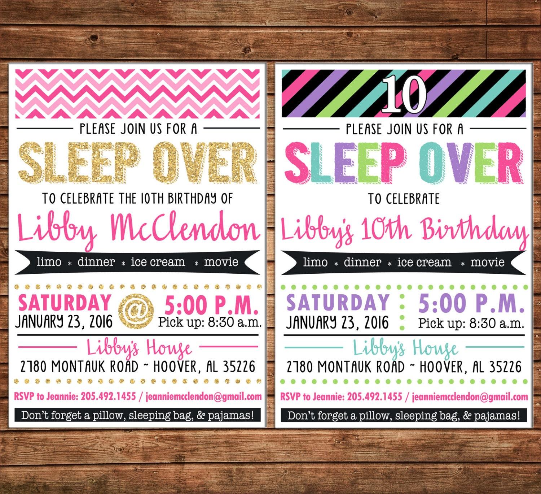 Girl Invitation Tween Teen Glitter Sleepover Birthday Party